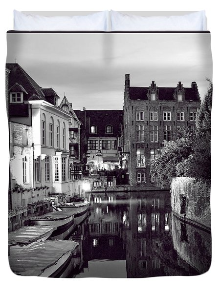 Bruges Canal In Black And White Duvet Cover