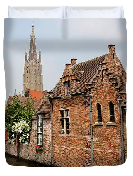 Bruges Houses With Bell Tower Duvet Cover by Carol Groenen
