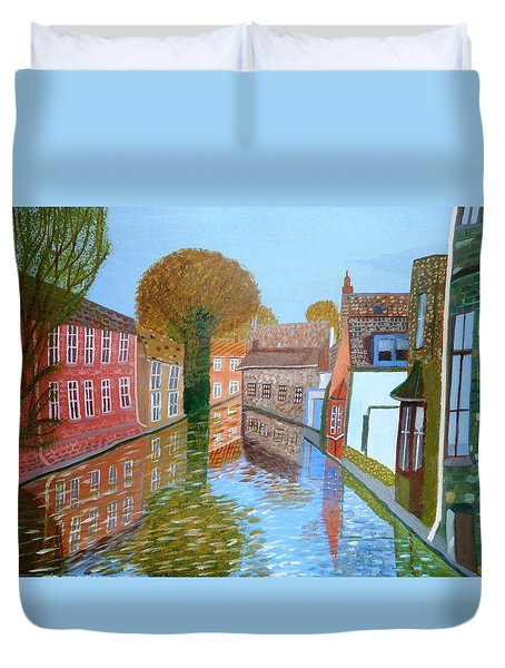 Duvet Cover featuring the painting Brugge Canal by Magdalena Frohnsdorff