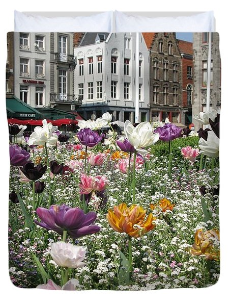 Duvet Cover featuring the photograph Brugge In Spring by Ausra Huntington nee Paulauskaite