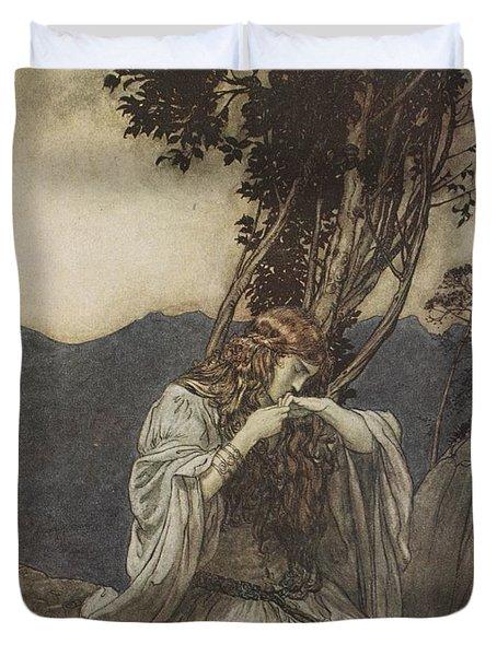Brunnhilde Kisses The Ring That Siegfried Has Left With Her Duvet Cover by Arthur Rackham