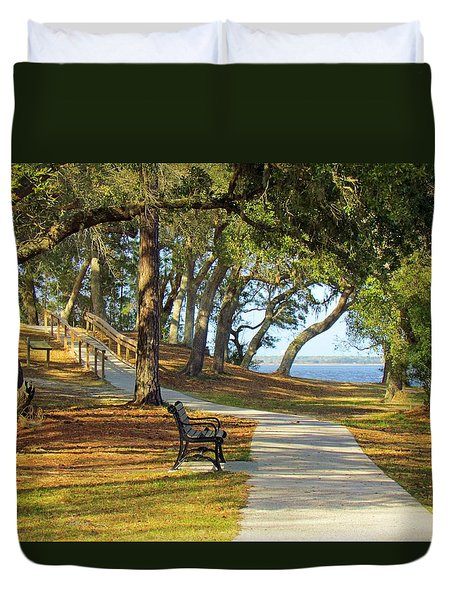 Duvet Cover featuring the photograph Brunswick Town by Cynthia Guinn