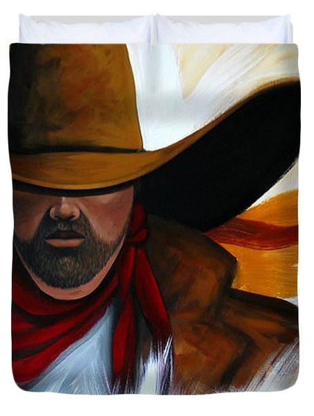 Duvet Cover featuring the painting Brushstroke Cowboy #4 by Lance Headlee