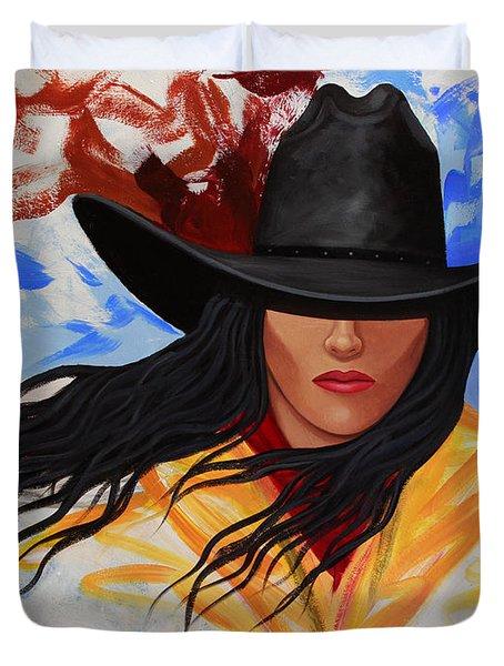 Brushstroke Cowgirl #3 Duvet Cover by Lance Headlee