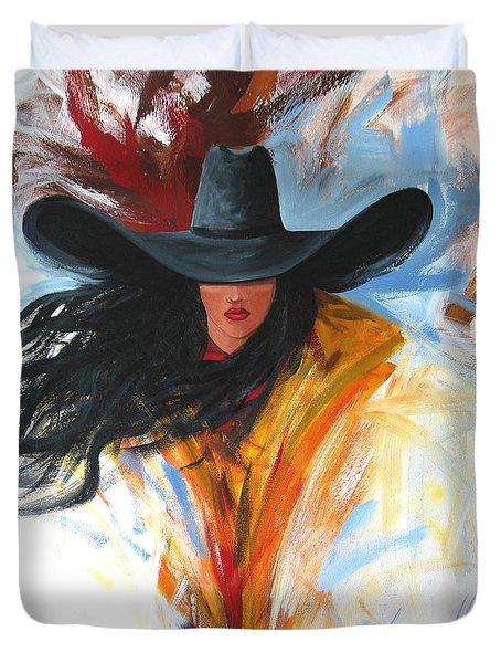 Brushstroke Cowgirl Duvet Cover by Lance Headlee
