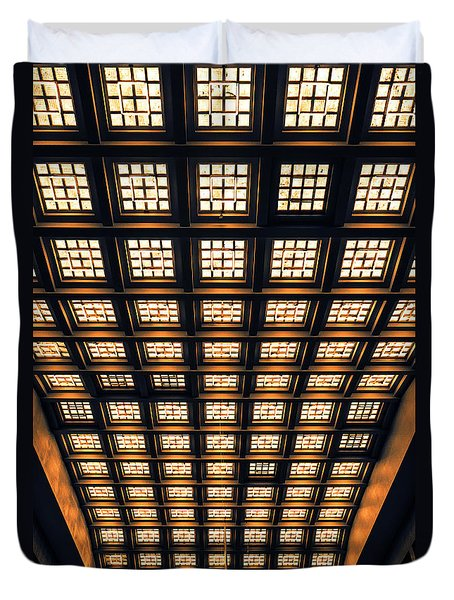Duvet Cover featuring the photograph Brussels Gare Central Ceiling by Menega Sabidussi
