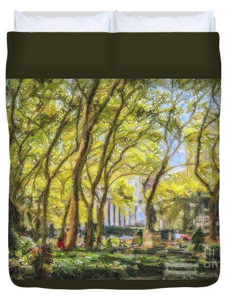 Bryant Park October Morning Duvet Cover