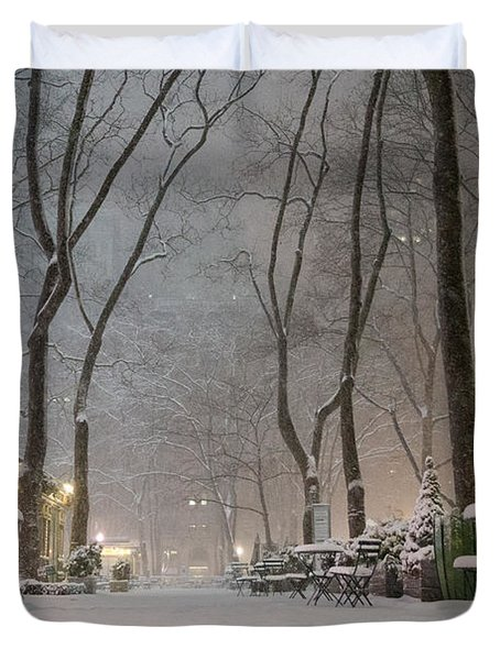 Bryant Park - Winter Snow Wonderland - Duvet Cover by Vivienne Gucwa
