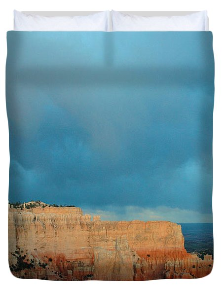Bryce Canyon And Stormy Sky Duvet Cover by Bruce Gourley