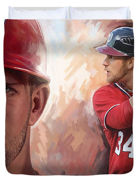 Duvet Cover featuring the painting Bryce Harper Artwork by Sheraz A