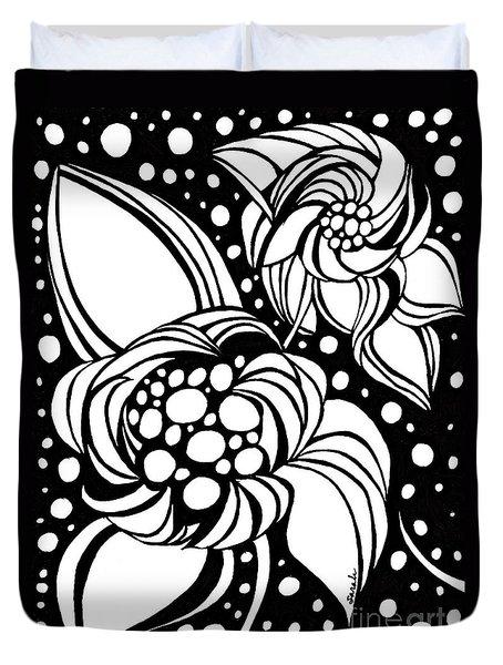 Bubble Flowers Duvet Cover by Sarah Loft