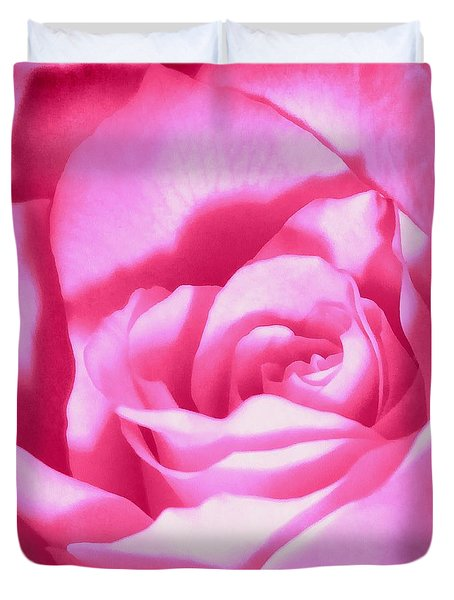 Duvet Cover featuring the photograph Bubble Gum Pink Rose by Janine Riley