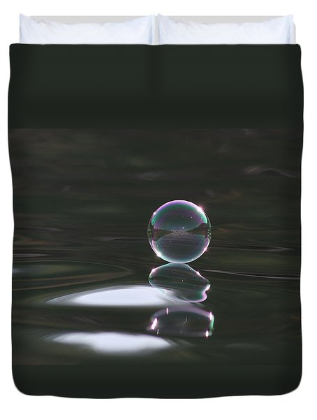 Bubble On The Lake Duvet Cover by Cathie Douglas