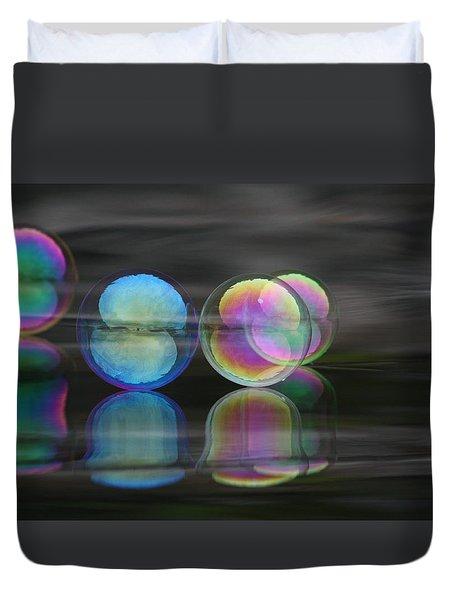 Duvet Cover featuring the photograph Bubble Dimension by Cathie Douglas
