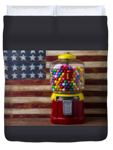 Bubblegum Machine And American Flag Duvet Cover by Garry Gay