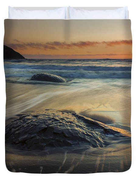 Bubbles On The Sand Duvet Cover by Mike  Dawson