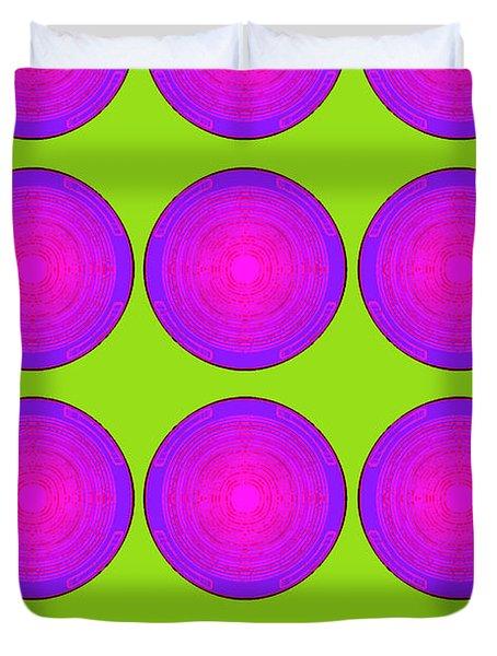 Bubbles Lime Purple Poster Duvet Cover