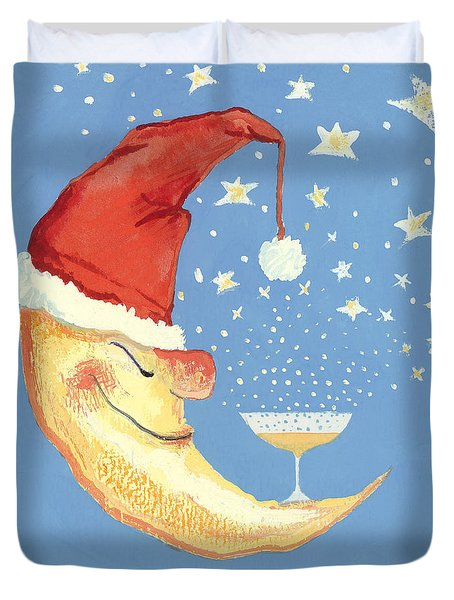 Bubbly Christmas Moon Duvet Cover by David Cooke