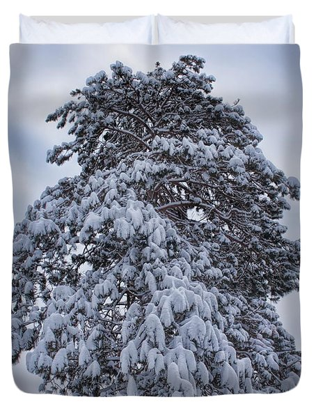Buck Lake Flocked Pine Duvet Cover