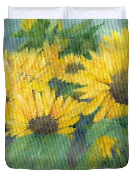 Bucket Of Sunflowers Colorful Original Painting Sunflowers Sunflower Art K. Joann Russell Artist Duvet Cover