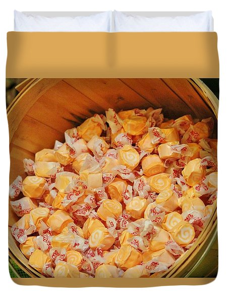 Duvet Cover featuring the photograph Bucket Of Taffy by Cynthia Guinn