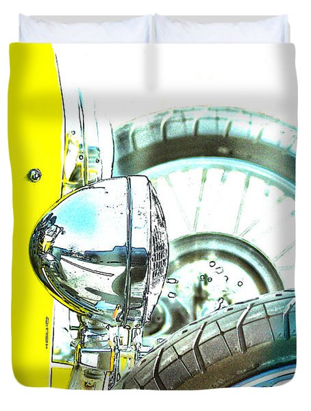 Duvet Cover featuring the photograph Bucket Roadster I Lineart by Lesa Fine