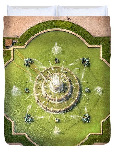 Buckingham Fountain From Above Duvet Cover