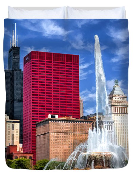 Chicago Buckingham Fountain Sears Tower Duvet Cover