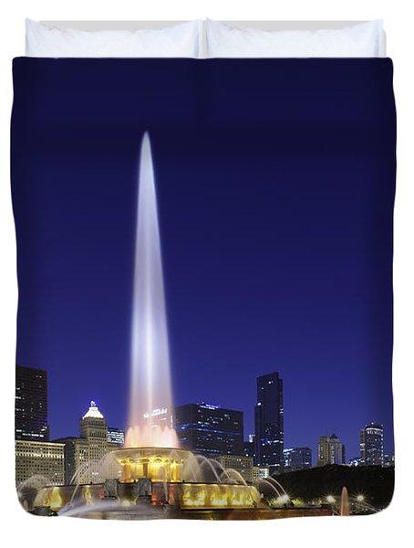 Buckingham Fountain Duvet Cover by Sebastian Musial