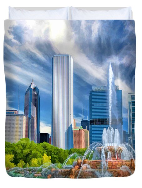 Buckingham Fountain Chicago Skyscrapers Duvet Cover
