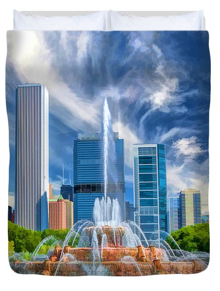 Buckingham Fountain Skyscrapers Duvet Cover