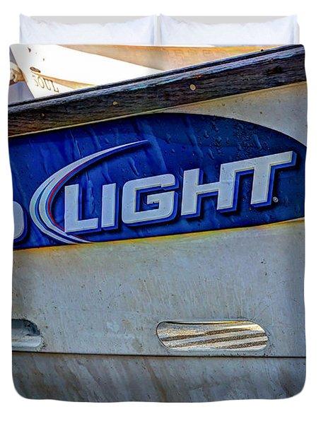 Bud Light Dory Boat Duvet Cover by Heidi Smith
