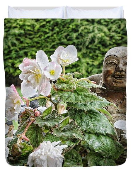 Budda And Begonias Duvet Cover