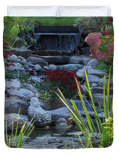 Duvet Cover featuring the photograph Buddha Water Pond by Brenda Brown