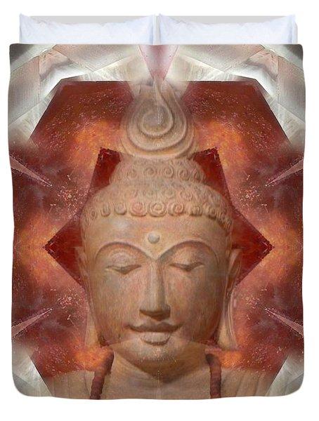 Buddha Head Crystal Mandala Duvet Cover