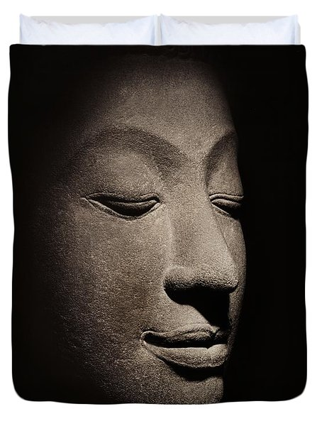Buddha Head From The Early Ayutthaya Period Duvet Cover