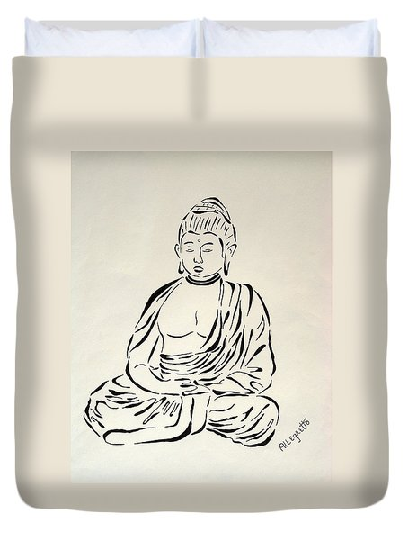 Buddha In Black And White Duvet Cover by Pamela Allegretto