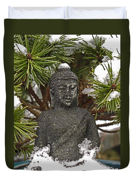 Buddha In The Snow Duvet Cover