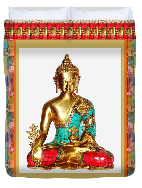 Buddha Sparkle Bronze Painted N Jewel Border Deco Navinjoshi  Rights Managed Images Graphic Design I Duvet Cover by Navin Joshi