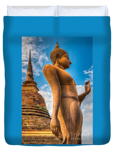Buddha Statue Duvet Cover by Adrian Evans