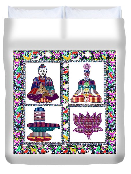 Buddha Yoga Chakra Lotus Shivalinga Meditation Navin Joshi Rights Managed Images Graphic Design Is A Duvet Cover by Navin Joshi