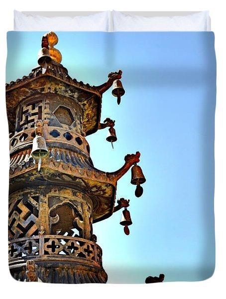Buddhist Bells Duvet Cover