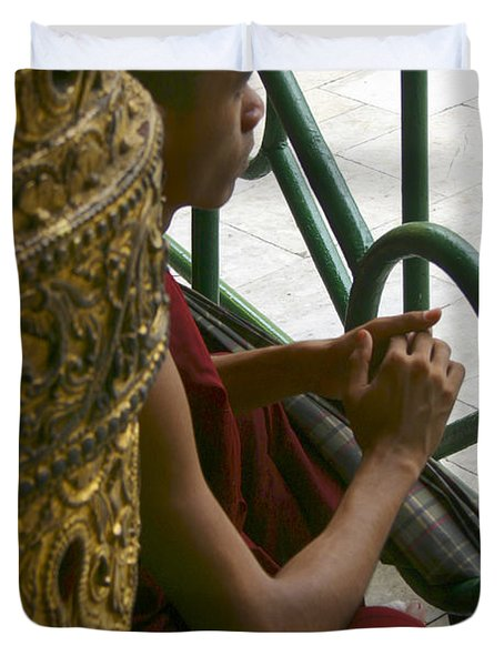 Buddhist Monk Leaning Against A Pillar Sule Pagoda Central Yangon Myanar Duvet Cover