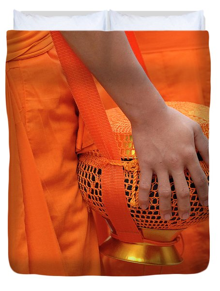 Buddhist Monks Hand Duvet Cover by Bob Christopher