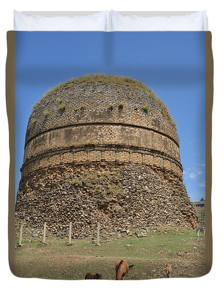 Buddhist Religious Stupa Horse And Mules Swat Valley Pakistan Duvet Cover