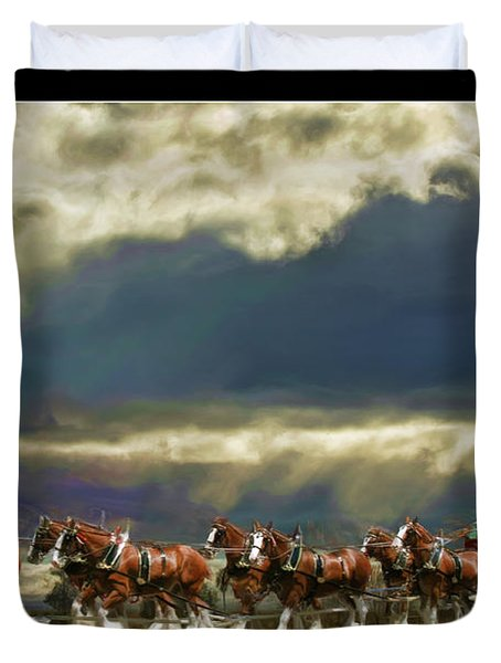 Budweiser Clydesdales Paint 1 Duvet Cover