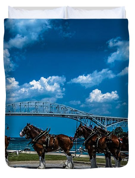 Budweiser Clydsdales And Blue Water Bridges Duvet Cover