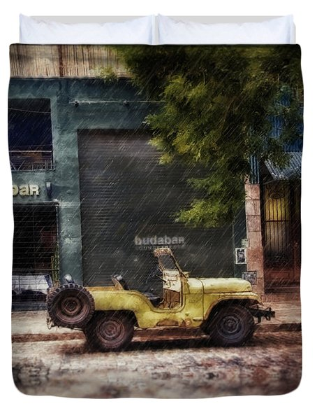 Buenos Aires Jeep Under The Rain Duvet Cover
