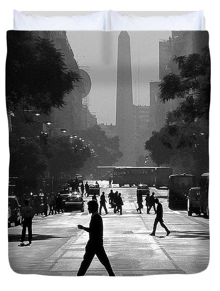 Duvet Cover featuring the photograph Buenos Aires Obelisk II by Bernardo Galmarini