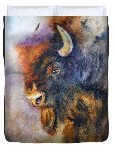 Duvet Cover featuring the painting Buffalo Business by Karen Kennedy Chatham